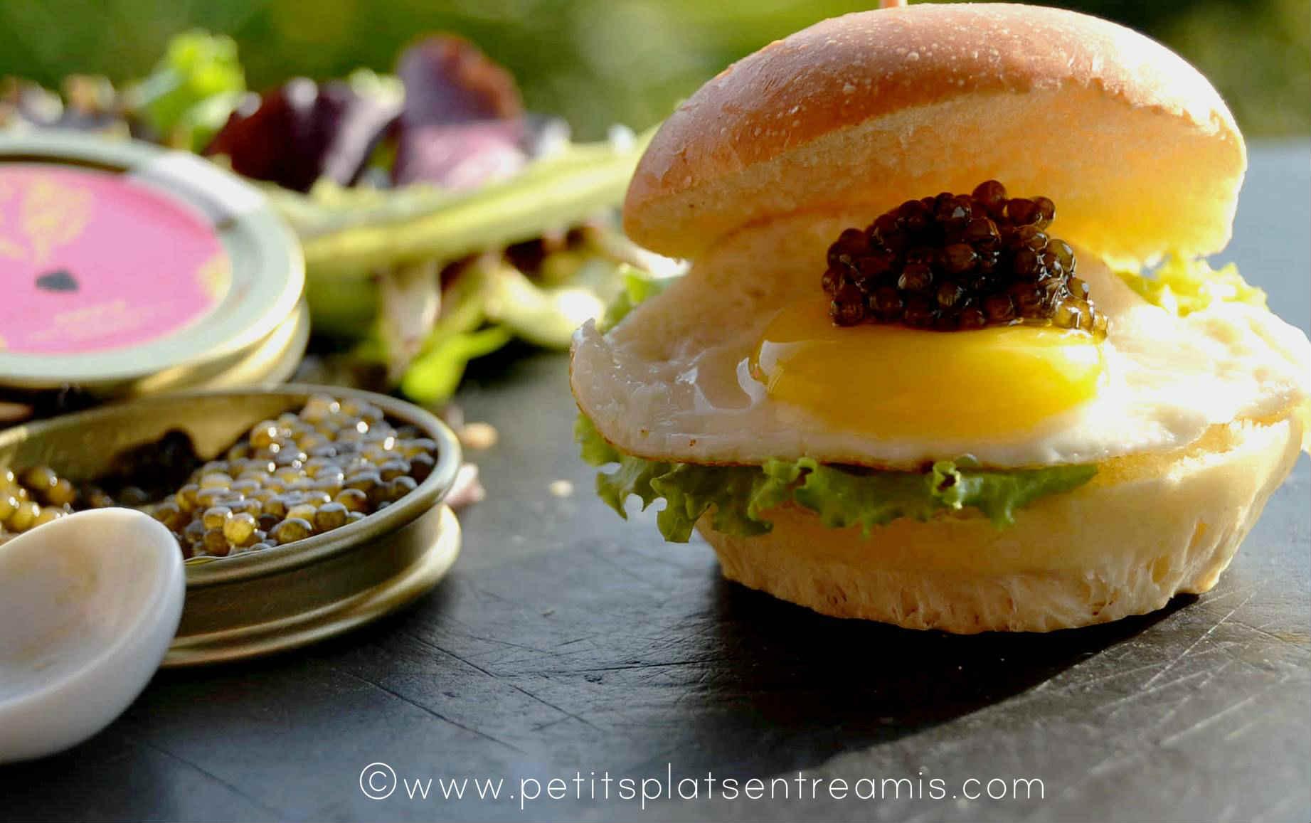 présentation Mini burger de caviar