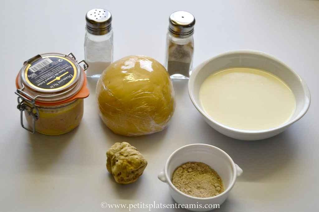 ingrédients pour ravioles au foie gras & truffe blanche