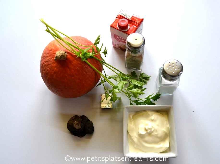 ingrédients pour vélouté de potimaron à la truffe