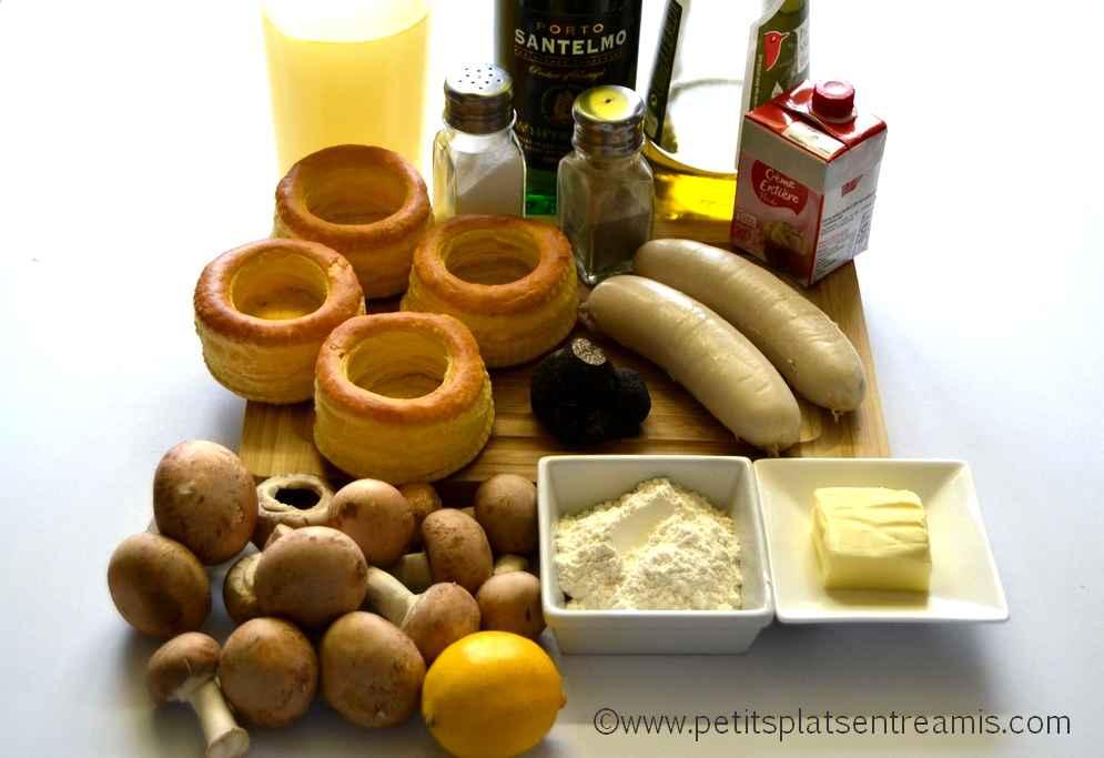 ingrédients pour vol au vent à la truffe & boudin blanc