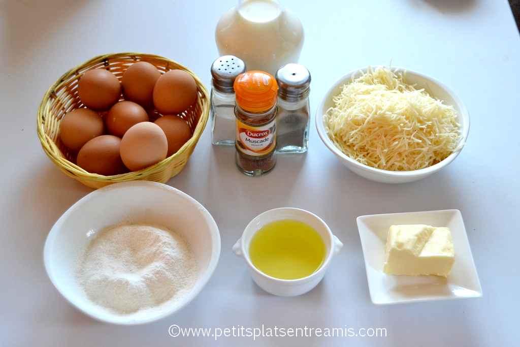 ingrédients soufflé au fromage