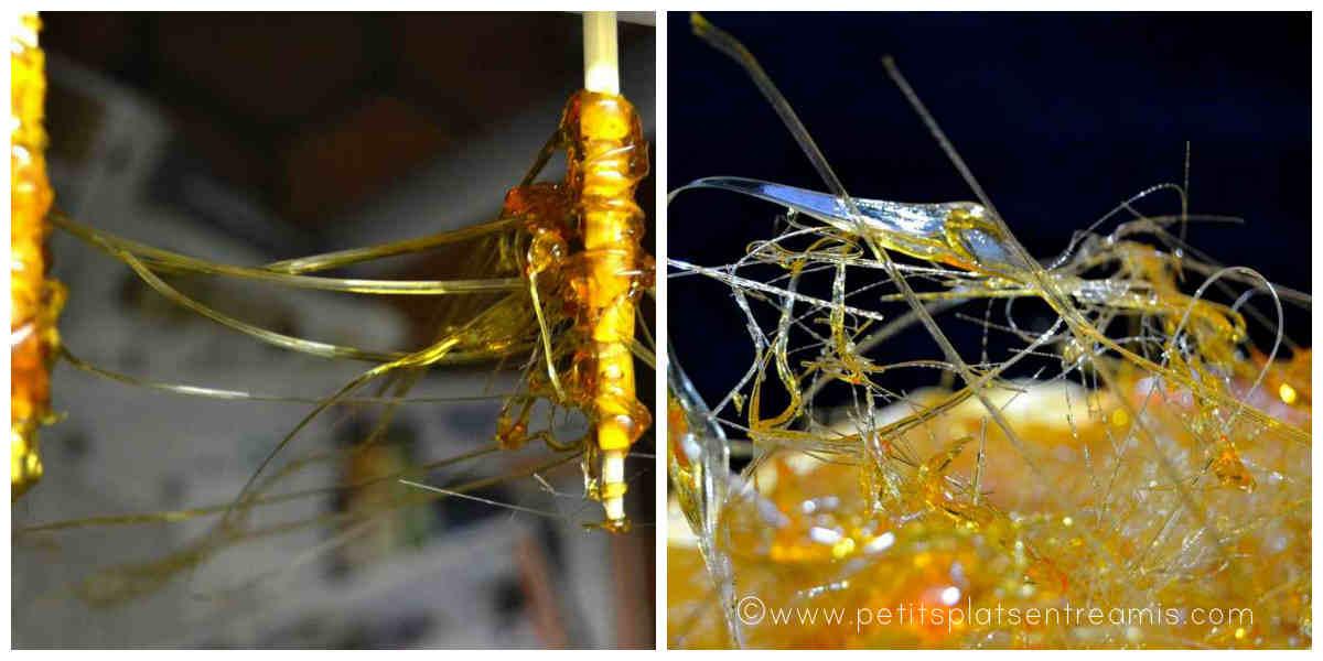 préparation des fils d'ange en caramel