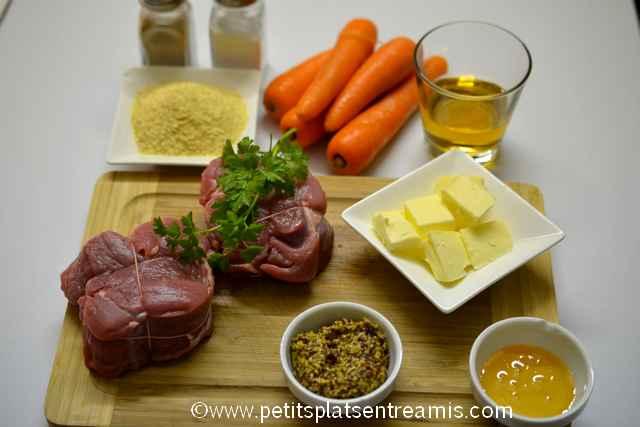 Ingrédients pour Grenadins de veau en croûte de moutarde