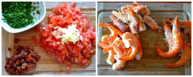 découpe des ingrédients pour linguines aux crevettes