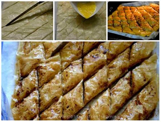 découpe et cuisson des baklavas