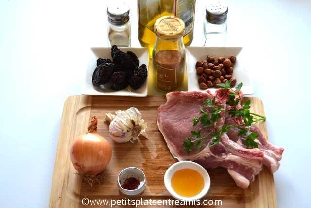 ingrédients côte de porc aux pruneaux