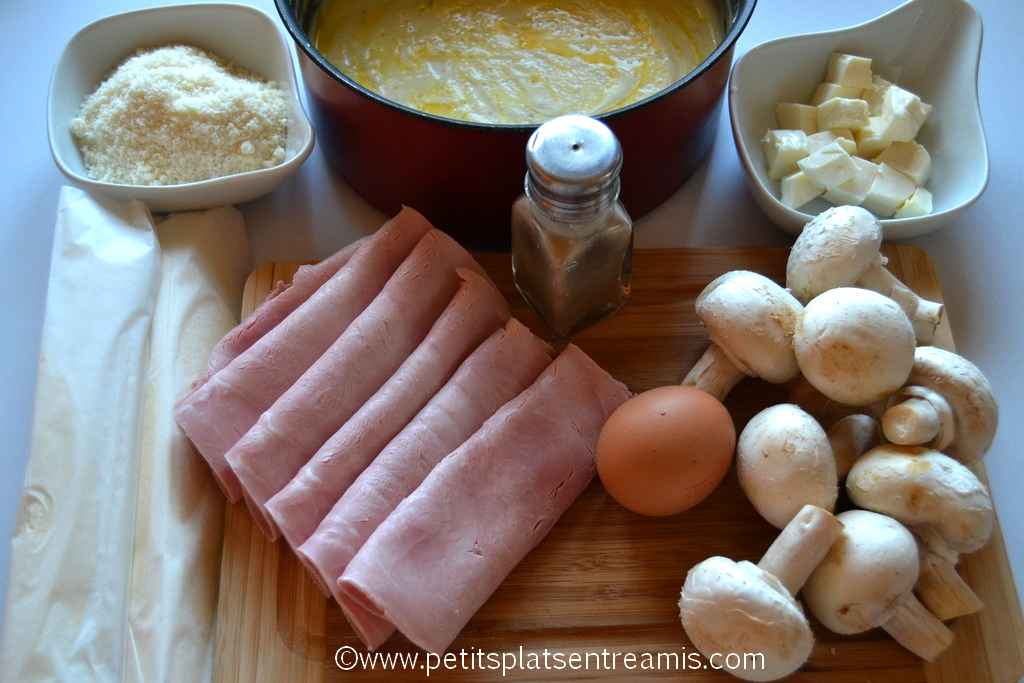 ingrédients pour feuilletés au jambon