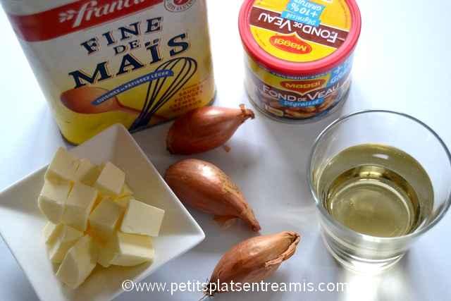 ingrédients pour sauce Bercy