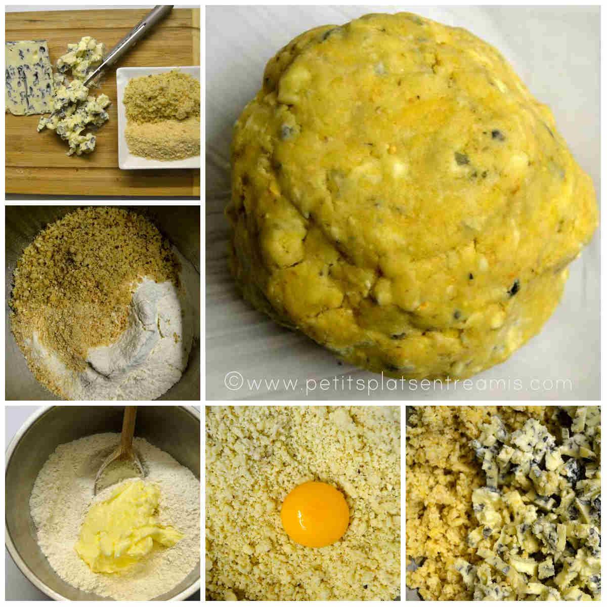 préparation pâte des sablés au bleu