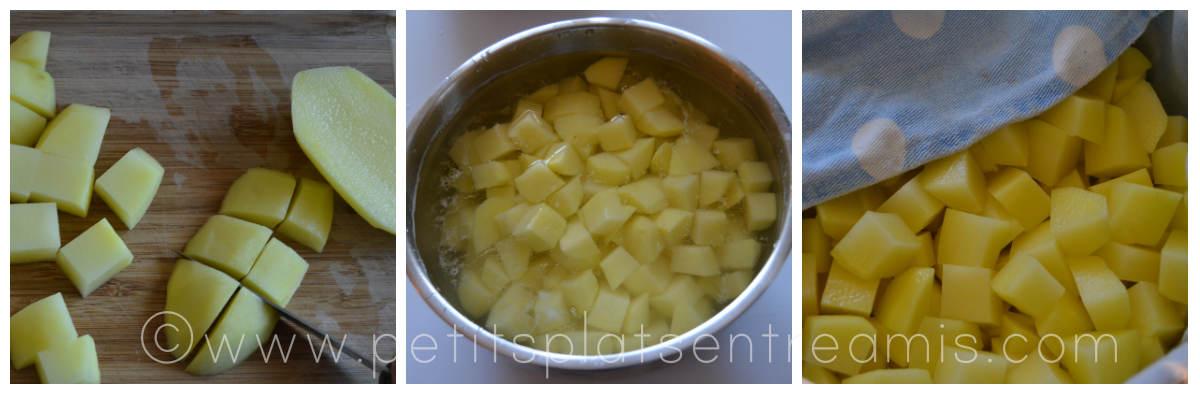découpe des pommes de terre sautées
