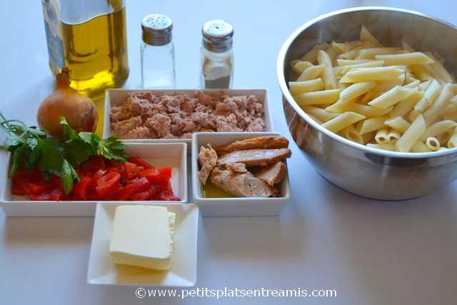 ingrédients pour penne au thon