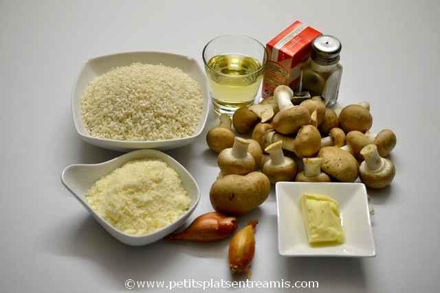 ingrédients pour risotto aux champignons
