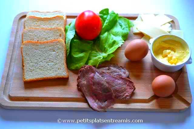 ingrédients pour sandwich rosbeef