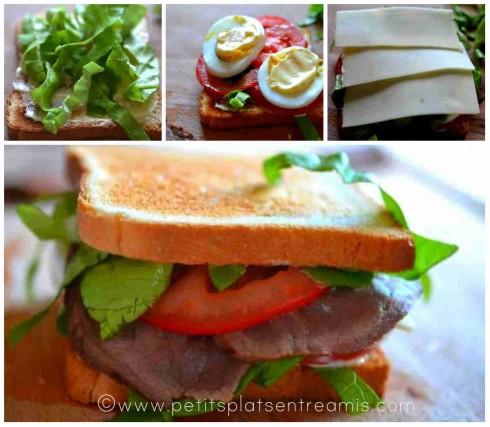 montage du sandwich rosbif