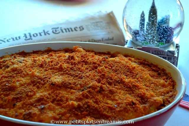 plat de gratin de macaronis au fromage