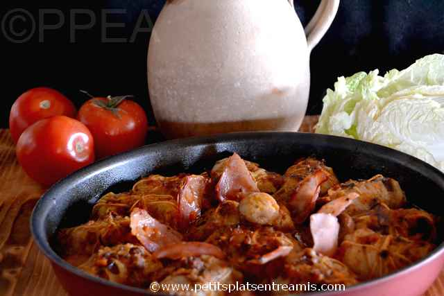 plat de petits choux chinois farcis
