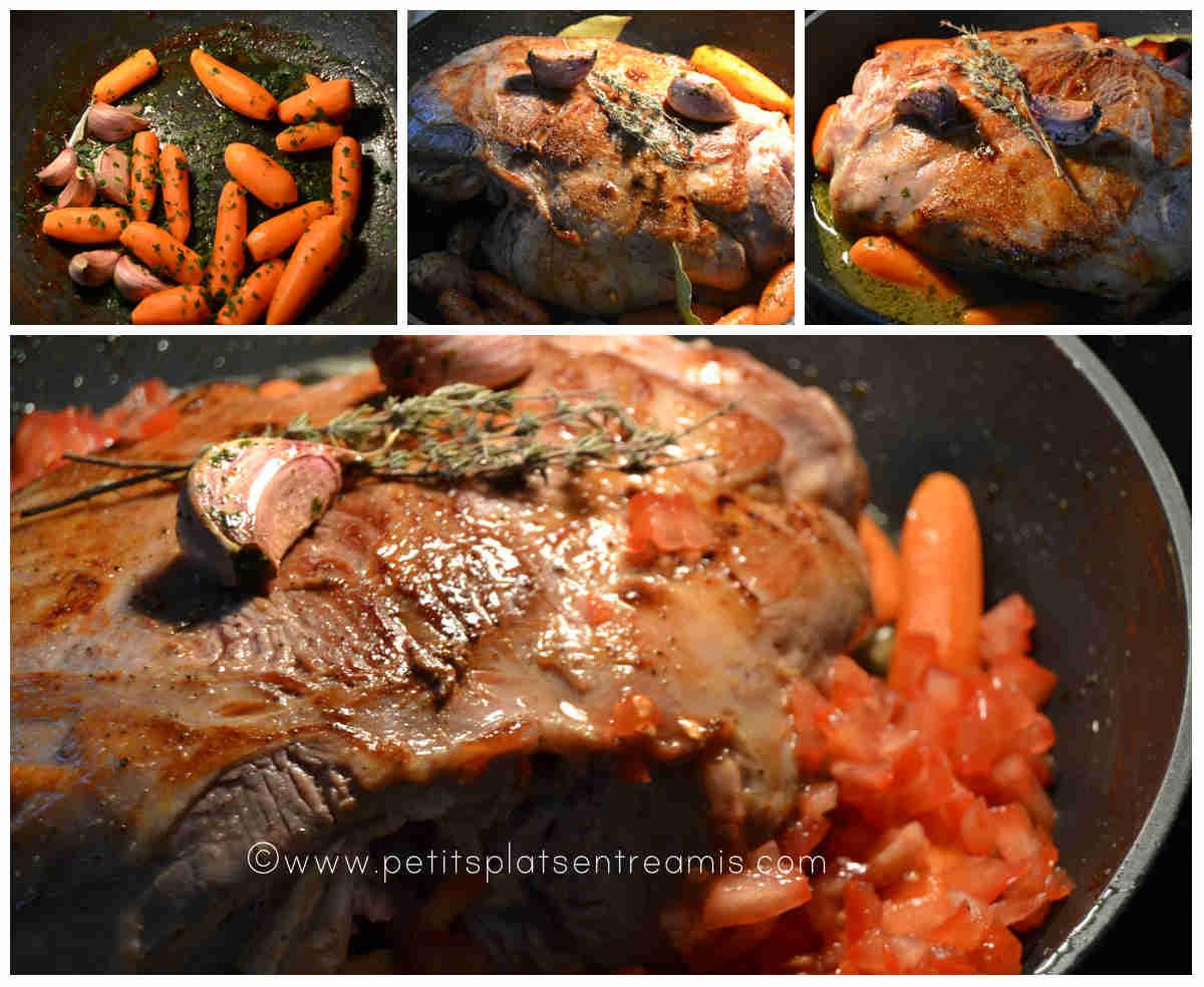 préparation gigot d'agneau en cocotte