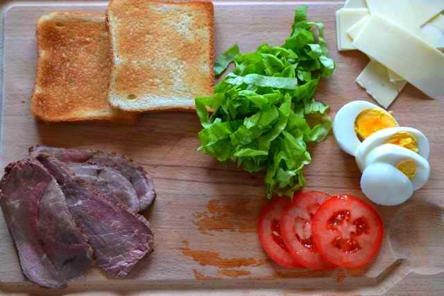 préparation sandwich rosbif