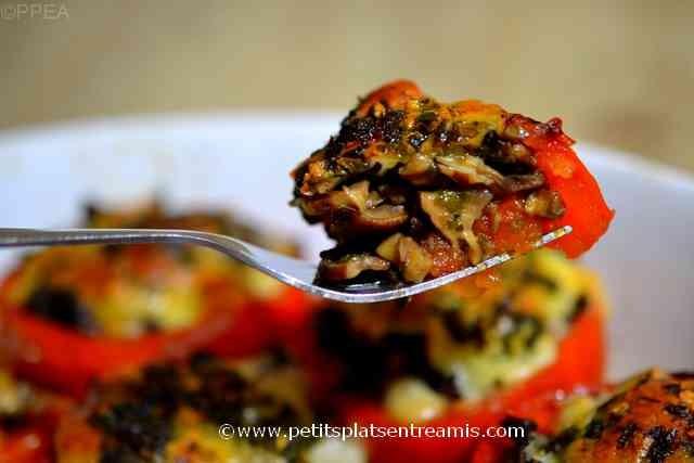 bouchée de tomates farcies aux champignons