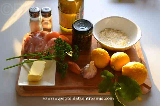 ingrédients piccata de poulet
