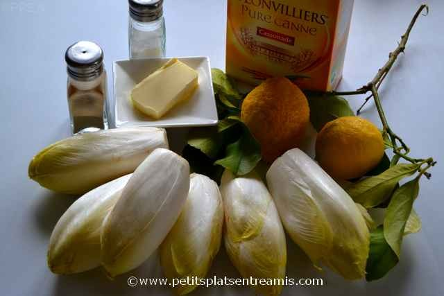 ingrédients pour endives braisées et caramélisées