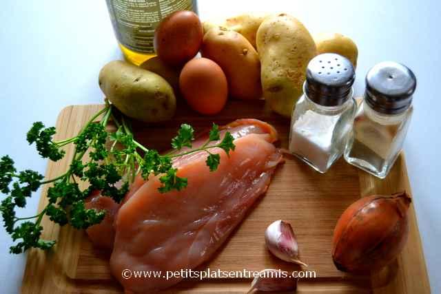 ingrédients pour galettes de pommes de terre et poulet