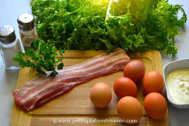 ingrédients pour nids d'omelette au lard