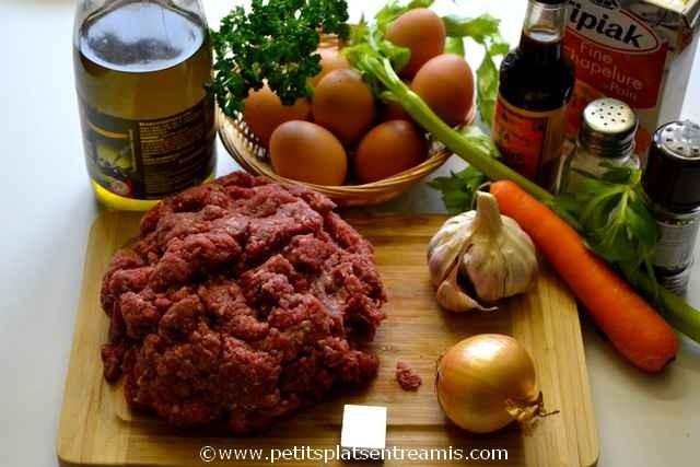 ingrédients pour pain de boeuf haché