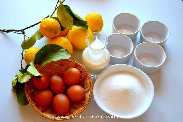ingrédients pour petites crèmes au citron