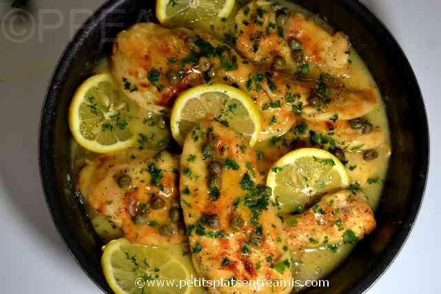 plat de piccata de poulet
