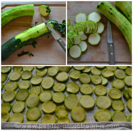 préparation et coupe des courgettes