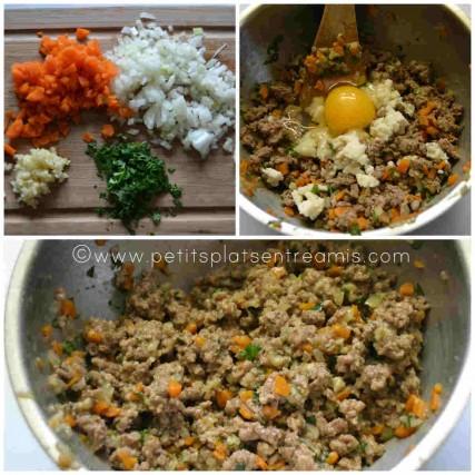 préparation farce pour rissoles au boeuf