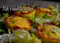 Nids d'omelette au lard