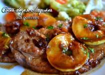 Côtes de porc laquées, aux pommes