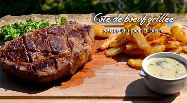 C te de boeuf grill e sauce au porto blanc petits plats - Comment griller une cote de boeuf au barbecue ...