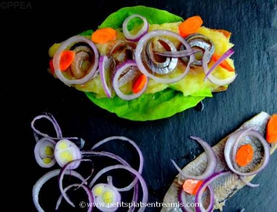 harengs pommes à l'huile sur tartine