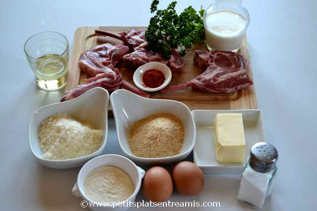 ingrédients pour côtes d'agneau panées
