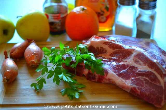 ingrédients pour côtes de porc laquées aux pommes