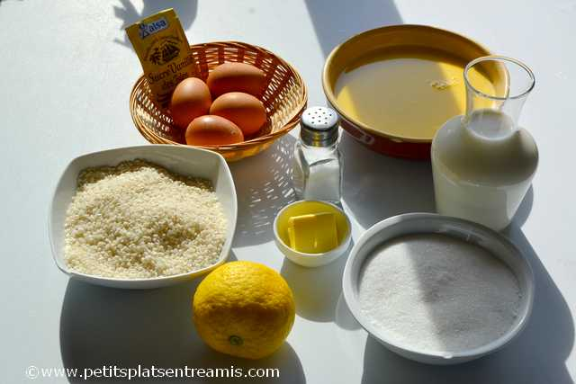 ingrédients pour gâteau de riz au caramel