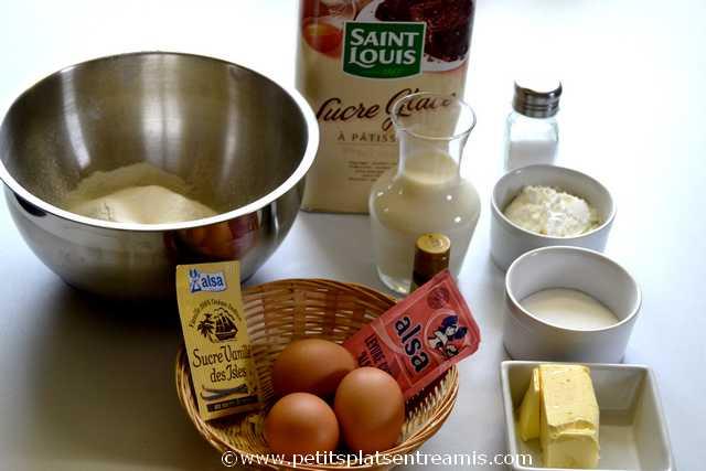 ingrédients pour pâte à gaufres
