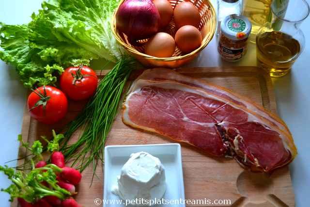 ingrédients pour salade au jambon de pays
