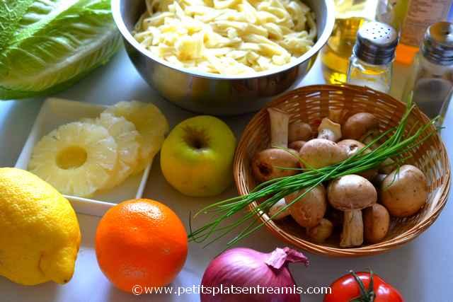 ingrédients salade de pâtes au parfum d'agrumes
