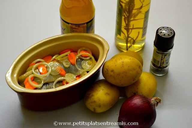ingrédients tartine harengs pomme à l'huile