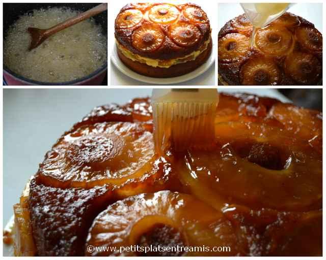 montage final gâteau ananas et crème