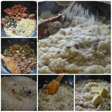 préparation risotto  à la saucisse
