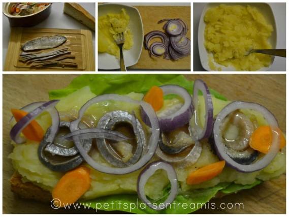 préparation tartine harengs pomme à l'huile
