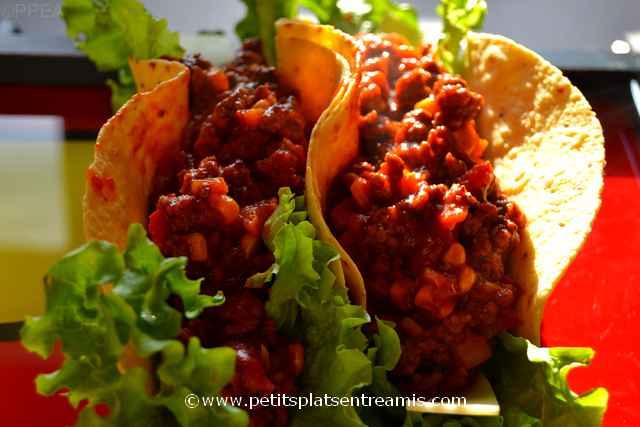 tacos au boeuf sur plateau