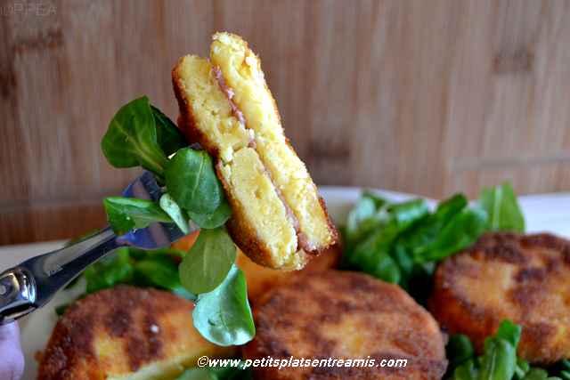 bouchée de pané-de-polenta-au-jambon