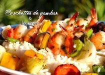 Brochettes de gambas et légumes à la plancha