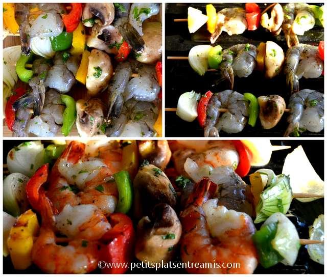 cuisson brochettes gambas et légumes